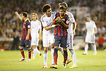 Real Madrid´s Coentrao and Pepe argue with F.C. Barcelona´s Neymar Jr during the Spanish Copa del Rey `King´s Cup´ final soccer match between Real Madrid and F.C. Barcelona at Mestalla stadium, in Valencia, Spain. April 16, 2014. (ALTERPHOTOS/Victor Blanco)