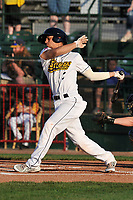 Burlington Bees shortstop Leonardo Rivas (3) swings at a pitch against the Bowling Green Hot Rods at Community Field on May 4, 2018 in Burlington, Iowa.  (Dennis Hubbard/Four Seam Images)