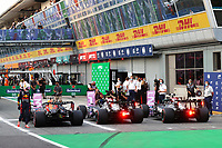10th September, September 2021; Nationale di Monza, Monza, Italy; FIA Formula 1 Grand Prix of Italy, Free practise and qualifying for sprint race:  33 Max Verstappen NED, Red Bull Racing, 77 Valtteri Bottas FIN, Mercedes-AMG Petronas F1 Team, 44 Lewis Hamilton GBR, Mercedes-AMG Petronas F1 Team pole sitters for the sprint race on 11th