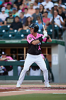 Jake Lamb (9) of the Charlotte Knights at bat against the Gwinnett Stripers at Truist Field on July 17, 2021 in Charlotte, North Carolina. (Brian Westerholt/Four Seam Images)