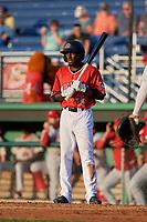 Batavia Muckdogs Milton Smith II (33) bats during a NY-Penn League game against the Auburn Doubledays on June 18, 2019 at Dwyer Stadium in Batavia, New York.  Batavia defeated Auburn 7-5.  (Mike Janes/Four Seam Images)