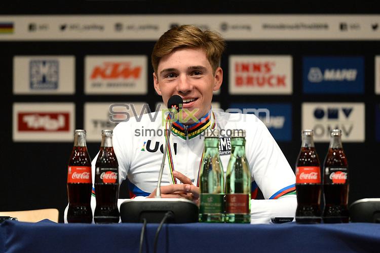 Picture by Richard Blaxall/SWpix.com - 27/09/2018 - Cycling 2018 Road Cycling World Championships Innsbruck-Tiriol, Austria - Men's Junior Race - Remco Evenepoel of Belgium celebrates winning Gold, Press Conference