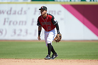 Hickory Crawdads shortstop Frainyer Chavez (11) on defense against the Charleston RiverDogs at L.P. Frans Stadium on May 13, 2019 in Hickory, North Carolina. The Crawdads defeated the RiverDogs 7-5. (Brian Westerholt/Four Seam Images)
