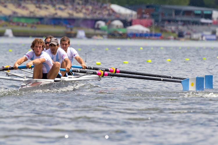 Rowing, Argentina, Men's Lightweight Four, Nicolai Fernandez, Diego Gallina, Carlo Lauro, Pablo Mahnic, stroke, Tuesday November 2, 2010,  2010 FISA World Rowing Championships, Lake Karapiro, Hamilton, New Zealand,
