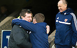 St Johnstone v Hearts.....18.01.14   SPFL<br /> Tommy Wrgiht greets Gary Locke prior to kick off<br /> Picture by Graeme Hart.<br /> Copyright Perthshire Picture Agency<br /> Tel: 01738 623350  Mobile: 07990 594431