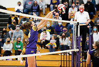 DeForest's Haley Czarnezki taps the ball over the net, as DeForest tops Waunakee 3 sets to 1 in Wisconsin WIAA girls high school volleyball regional finals on Saturday, Apr. 10, 2021 at DeForest High School