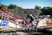 in the infamous Zonhoven 'Pit'<br /> <br /> Elite Men's Race<br /> 2021 UCI cyclo-cross World Cup - Zonhoven (BEL)<br /> <br /> ©kramon