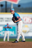 Spokane Indians relief pitcher Wes Robertson (14) looks in for the sign during a Northwest League game against the Vancouver Canadians at Avista Stadium on September 2, 2018 in Spokane, Washington. The Spokane Indians defeated the Vancouver Canadians by a score of 3-1. (Zachary Lucy/Four Seam Images)