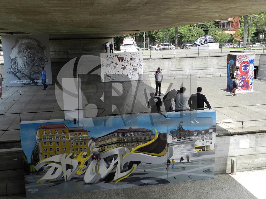 SÃO PAULO - SP -  23 DE JANEIRO 2013. 2ª BIENAL INTERNACIONAL DO GRAFFITI FINE ART - MuBE, são 50 artistas nacionais e internacionais que vão apresentar obras coletivas e individuais, todas inéditas. O MuBE fica na Av Europa, 218 - Jd Europa - zona o.oeste - São Paulo, de 22 de janeiro até 24 de fevereiro de terça a domingo, das 10h às 19h, com entrada franca. FOTO: MAURICIO CAMARGO / BRAZIL PHOTO PRESS.