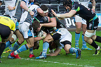 Sunday 26 February 2017<br /> Pictured: Ospreys pack in action driving for the line.<br /> RE: Guinness Pro12 Ospreys v Glasgow at the the Liberty Stadium, Swansea, Wales, UK