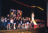 Schenectady, NY.Mont Pleasant Middle School.Middle School students sing and dance on stage for school play. Scan from older film; may not be appropriate for highest resolution print publication usage..Scan from slide film, PN30629.©Ellen B. Senisi