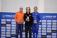 SPEEDSKATING: SALT LAKE CITY: Utah Olympic Oval, 10-03-2019, ISU World Cup Finals, Podium World Cup Mass Start Ladies, Irene Schouten (NED), Bo-Reum Kim (KOR), Francesca Lollobrigida (ITA), ©Martin de Jong