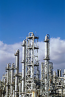 Petrochemical refinery distillation towers.