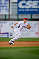 Binghamton Rumble Ponies third baseman Matt Oberste (45) ranges to his left during a game against the Erie SeaWolves on May 14, 2018 at NYSEG Stadium in Binghamton, New York.  Binghamton defeated Erie 6-5.  (Mike Janes/Four Seam Images)