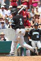 The Coastal Carolina University Chanticleers center fielder Rico Noel #1 being hit by a pitch during the 2nd and deciding game of the NCAA Super Regional vs. the University of South Carolina Gamecocks on June 13, 2010 at BB&T Coastal Field in Myrtle Beach, SC.  The Gamecocks defeated Coastal Carolina 10-9 to advance to the 2010 NCAA College World Series in Omaha, Nebraska. Photo By Robert Gurganus/Four Seam Images