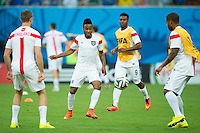 Raheem Sterling of England warms up with team mates