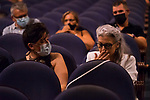 Kiti Manver (r) before the beggining of Malaga Film Festival Gala at Teatro Cervantes.August 24 2020. (Alterphotos/Francis González)