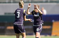 LA Sol's Camille Abily celebrates her goal with teammate Allison Falk. The LA Sol defeated the Freedom of Washington 3-1 at Home Depot Center stadium in Carson, California on Sunday afternoon June 7, 2009.   .