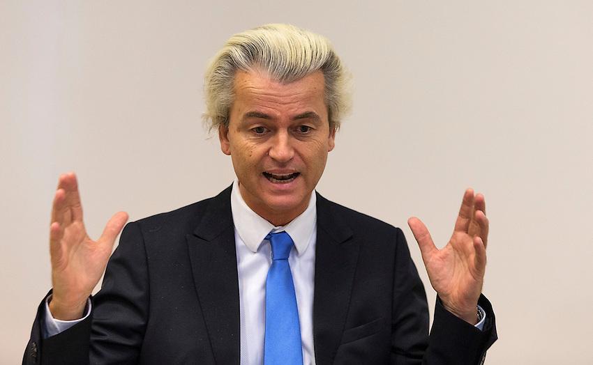 Nederland, Den Haag, the Hague, 21-01-2015. <br /> Portret / Portrait PVV politicus Geert Wilders, verkiezingen,<br /> PVV  rightwing populist politician Geert Wilders<br /> foto: Michael Kooren/.