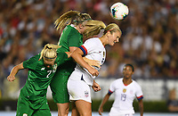 PASADENA, CALIFORNIA - August 03: Louise Quinn #4, Lindsey Horan #9, Diane Caldwell #7 during their international friendly and the USWNT Victory Tour match between Ireland and the United States at the Rose Bowl on August 03, 2019 in Pasadena, CA.