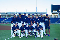 AZL Brewers Julio Mendez (3), Francisco Thomas (9), Ernesto Wilson Martinez (56), Moises Perez (53), Pablo Abreu (2), Brent Diaz (28), Karlos Morales (13), Wilfred Salaman (16), Jesus Lujano (26), Yeison Coca (7), Jean Carmona (5), Johan Mojica (43) pose for a photo prior to a game against the AZL Cubs at Maryvale Baseball Park in Phoenix, Arizona. AZL Cubs defeated the AZL Brewers 9-1. (Zachary Lucy/Four Seam Images)