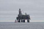 Pil'tun Bay, Sakhalin Island, couple of oil platforms of.The Sakhalin-I.s a consortium to locate and produce oil and gas on Sakhalin Island and immediately offshore, in the Okhotsk Sea, from three fields: Chayvo, Odoptu, and Arkutun-Dagi.