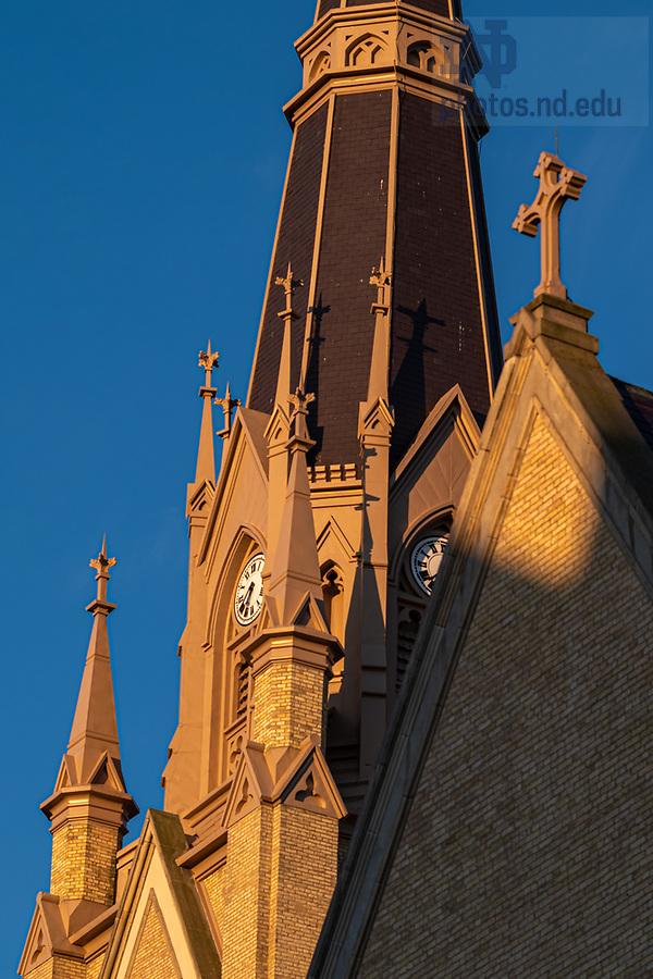 June 24, 2020; Detail of the Basilica steeple (Photo by Matt Cashore/University of Notre Dame)