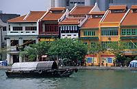 Asie/Singapour/Singapour: Boat Quay et la rivière Singapour
