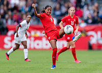 CARSON, CA - FEBRUARY 9: Jayde Riviere #8 of Canada controls the ball during a game between Canada and USWNT at Dignity Health Sports Park on February 9, 2020 in Carson, California.