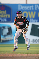 Luis Urias (3) of the Lake Elsinore Storm in the field at second base during a game against the Lancaster JetHawks at The Hanger on August 2, 2016 in Lancaster, California. Lake Elsinore defeated Lancaster, 10-9. (Larry Goren/Four Seam Images)