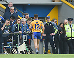 David Reidy of Clare runs back to the dugout after being sent off during their Munster championship game in Ennis. Photograph by John Kelly.