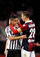 Calcio, Serie A:  Bologna vs Juventus. Bologna, stadio Renato Dall'Ara, 19 febbraio 2016. <br /> Bologna's Daniele Gastaldello, right, greets Juventus' Paulo Dybala at the end of the Italian Serie A football match between Bologna and Juventus at Bologna's Renato Dall'Ara stadium, 19 February 2016. The game ended 0-0.<br /> UPDATE IMAGES PRESS/Isabella Bonotto
