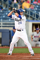 Tulsa Drillers third baseman Jayson Langfels (28) at bat during a game against the Midland RockHounds on May 31, 2014 at ONEOK Field in Tulsa, Oklahoma.  Tulsa defeated Midland 5-3.  (Mike Janes/Four Seam Images)