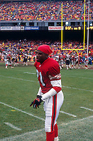 SAN FRANCISCO, CA - Deion Sanders of the San Francisco 49ers talks on the sidelines during a game at Candlestick Park in San Francisco, California in 1994. Photo by Brad Mangin