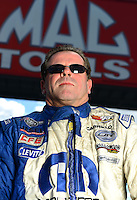 Sept 8, 2012; Clermont, IN, USA: NHRA pro stock driver Allen Johnson during qualifying for the US Nationals at Lucas Oil Raceway. Mandatory Credit: Mark J. Rebilas-