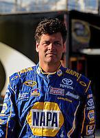 Feb 20, 2009; Fontana, CA, USA; NASCAR Sprint Cup Series driver Michael Waltrip during qualifying for the Auto Club 500 at Auto Club Speedway. Mandatory Credit: Mark J. Rebilas-