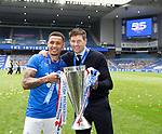 15.05.2021 Rangers v Aberdeen: James Tavernier and Steven Gerrard with the league trophy