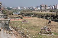 Nepal, Patan.  Riverbank of the Bagmati.