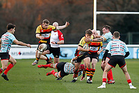 Tom Williams of Blackheath Rugby tries to grab Morgan Ward of Richmond Rugby during the English National League match between Richmond and Blackheath  at Richmond Athletic Ground, Richmond, United Kingdom on 4 January 2020. Photo by Carlton Myrie.