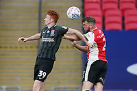 Callum Morton (on loan from WBA) of Northampton Town and Pierce Sweeney of Exeter City during the Sky Bet League 2 PLAY-OFF Final match between Exeter City and Northampton Town at Wembley Stadium, London, England on 29 June 2020. Photo by Andy Rowland.