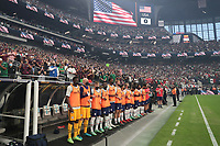LAS VEGAS, NV - AUGUST 1: The USMNT bench before a game between Mexico and USMNT at Allegiant Stadium on August 1, 2021 in Las Vegas, Nevada.