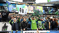 SEATTLE, WA - NOVEMBER 10: Seattle Sounders FC fans celebrate a goal by Victor Rodriguez #8 of the Seattle Sounders FC (not pictured) during a game between Toronto FC and Seattle Sounders FC at CenturyLink Field on November 10, 2019 in Seattle, Washington.