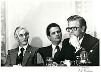 Jacques Gagnon, president de la Federation des Caisses d'Entraide du Quebec a la tribune de la Chambre de Commerce de Montreal ,  20 nov 1979<br /> <br /> PHOTO : JJ Raudsepp  - Agence Quebec presse