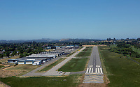 aerial photograph of final approach to runway 29 at the Petaluma Municipal Airport (O69), Petaluma, Sonoma County, California