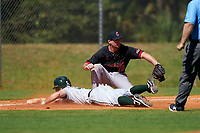 Omaha Mavericks third baseman Breyden Eckhout (20) catches a throw as Kade Kretzschmar (24) slides in during a game against the Dartmouth Big Green on February 23, 2020 at North Charlotte Regional Park in Port Charlotte, Florida.  Dartmouth defeated Omaha 8-1.  (Mike Janes/Four Seam Images)