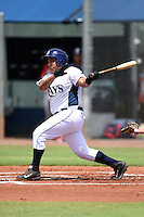 GCL Rays third baseman Isias Alcantar (20) at bat during a game against the GCL Red Sox on June 24, 2014 at Charlotte Sports Park in Port Charlotte, Florida.  GCL Red Sox defeated the GCL Rays 5-3.  (Mike Janes/Four Seam Images)