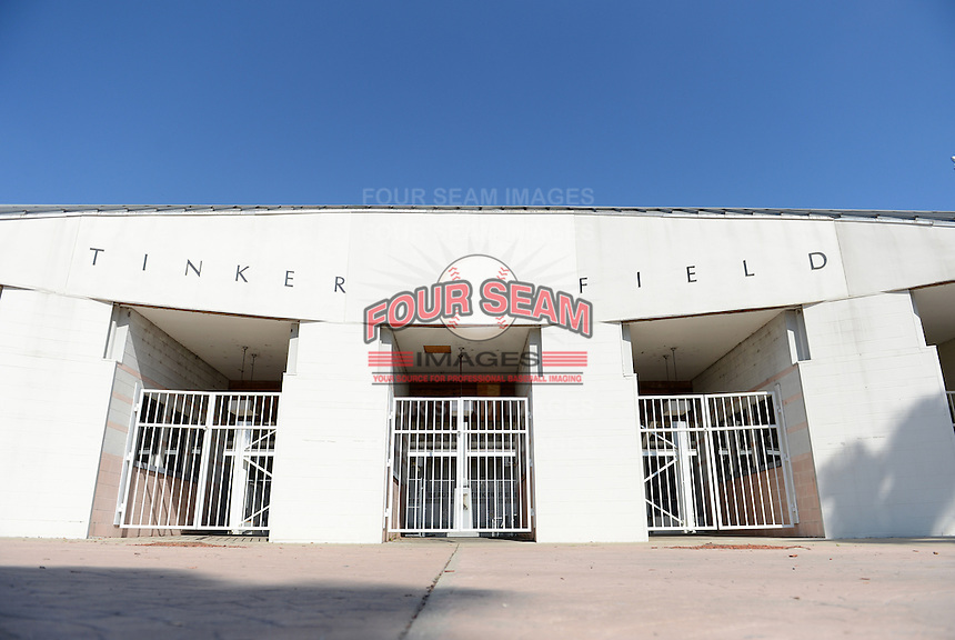 General view of the Tinker Field main gate, a former spring training site for the Cincinnati Reds, Brooklyn Dodgers, Washington Senators, and Minnesota Twins as well as a minor league stadium, that is possibly being demolished with some portions moved due to renovations at the Citrus Bowl;  February 19, 2014 at Tinker Field in Orlando, Florida.  (Mike Janes/Four Seam Images)
