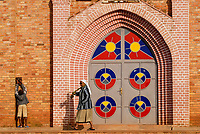 RWANDA, Byumba , colourful door of catholic church / RUANDA, Byumba, farbige Tuerd er Kirche