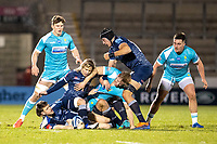 8th January 2021; AJ Bell Stadium, Salford, Lancashire, England; English Premiership Rugby, Sale Sharks versus Worcester Warriors; Faf de Klerk of Sale Sharks is stopped from getting to the ball