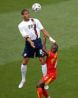 U.S. defender Oguchi Onyewu heads the ball. Ghana defeated the USA 2-1 in their FIFA World Cup Group E match at Franken-Stadion, Nuremberg, Germany, June 22, 2006. Ghana advances to round of 16 and the USA is out of the tournament.